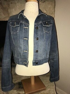 Old Navy Maternity Sz S Medium Wash Denim Jean Jacket Cropped distressed
