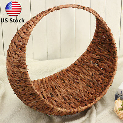 Rugged Moon Shaped Handmade Woven Baskets Newborn Baby Studio Photography Props