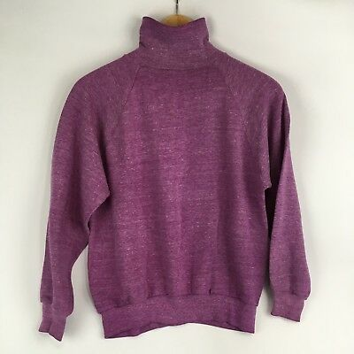Vintage 80s S XS Thin Worn Soft Turtleneck Sweatshirt Blank Plain Heather Purple