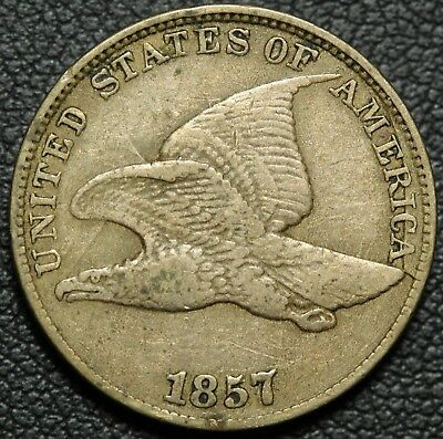 1857 Clashed with Seated Liberty Half Dollar Flying Eagle Cent - Strong Strike