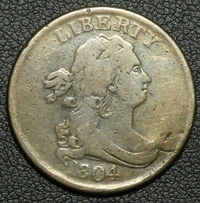 1804 Draped Bust Copper Half Cent - Cleaned
