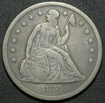 1859 O Seated Liberty Silver Dollar - Strong Strike!