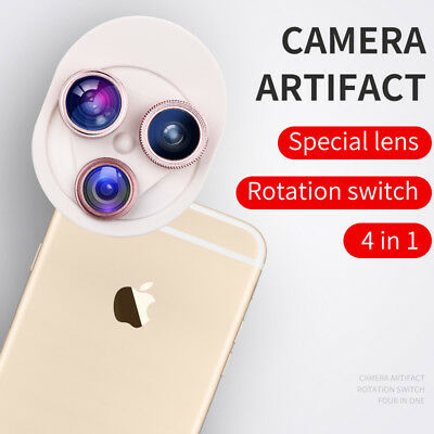 Apexel Cell phone lens 4 in 1 HD Camera Kit 198° Fisheye +0.63x Wide Angle+15x