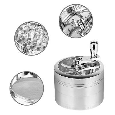 4Piece Magnetic 2.5 Inch Silver Tobacco Herb Grinder Spice Zinc Alloy With Scoop