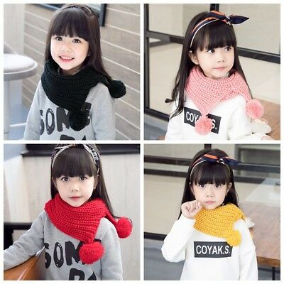 Knitting Warm Scarf Children Kids Baby Casual Knitted Solid Color Wool O-Scarves