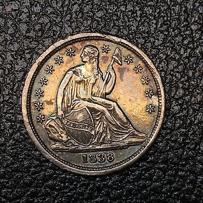 1838 Seated Liberty Dime.  Near Uncirculated.  Small Stars?