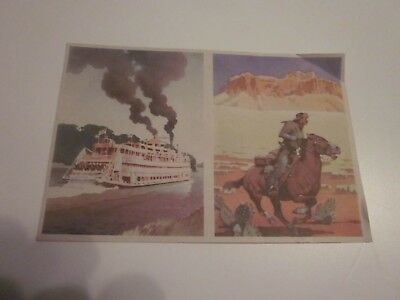 """1943 Vintage Coca Cola """"Cut and Paste"""" Trade Cards The Pony Express & Steamboat"""