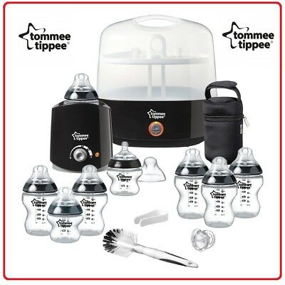 ❤ Tommee Tippee Closer to Nature Essentials Steriliser Starter Kit Extra Bottles