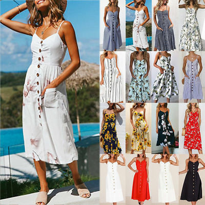 UK Boho Women's Holiday Off Shoulder Floral Maxi Ladies Summer Beach Party Dress