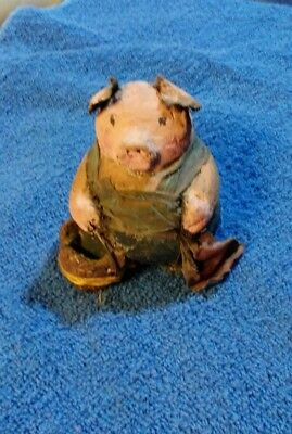 Woblers Woods Pig Figurine Carrying Basket Arlene Wobler Enesco 1996 Folk Art