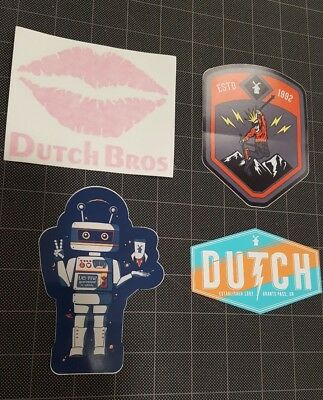 Dutch Bros Coffee Brothers LOT 4 Stickers Decals lips robot ski