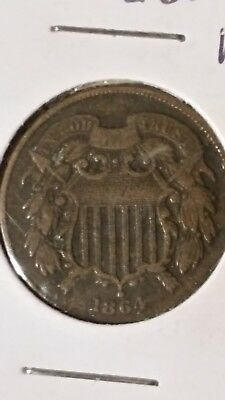 1864 two cent piece VF ++