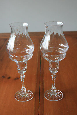 Fine Crystal Candlesticks with matching Glass Flame Covers, perfect condition
