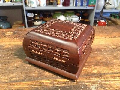 BRT Beautiful Hand Carved/Crafted Solid Hard wood Small Square Trinkets Box