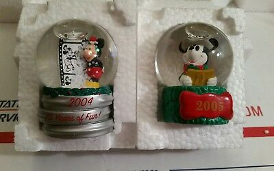 2004 & 2005 JCPenney Disney Mickey Mouse Christmas Holiday Collectible Snowglobe