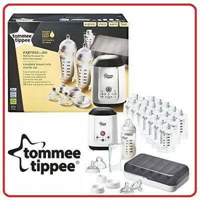 ❤ Tommee Tippee Express and Go Complete Starter Large Kit Pouch Bottle Warmer ❤