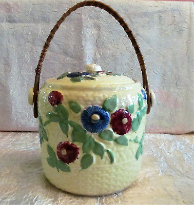 Antique Biscuit Jar Mellow Yellow W/ Rattan Handle  Excellent! Made In Japan