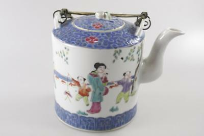 Antique Chinese Famille Rose Hand Painted Teapot Stamped