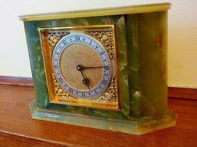 Antique Onyx mantel clock made by Arthur imhof in stunning condition with