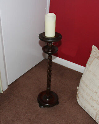 Antique Barley Twist Oak Ashtray Candle Holder Plant Stand BEAUTIFUL CONDITION