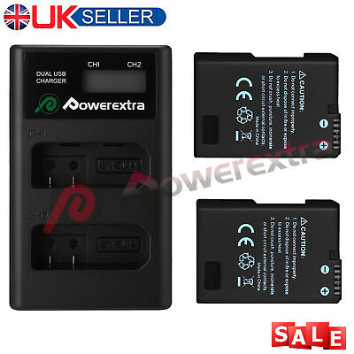 2X EN-EL14 EN-EL14a Battery For Nikon D3100 D3200 D5100 P7000 & Dual LCD Charger