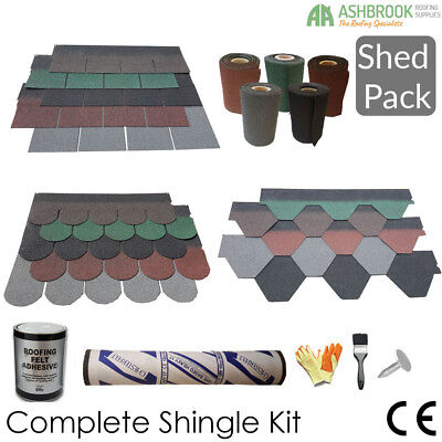 Roofing Felt Shingles | Shed Roof Felt Tiles | Shed Pack | 3 Shapes | Ridge roll