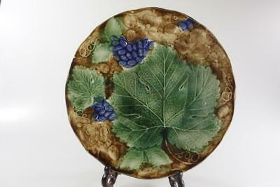 VICTORIAN 19th Century HAND PAINTED GRAPE LEAF PATTERNED SERVING PLATE