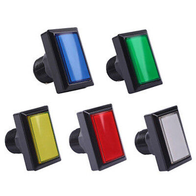 LED Illuminated Arcade Push Button Coin Buttons   Video Game Rectangle Durable
