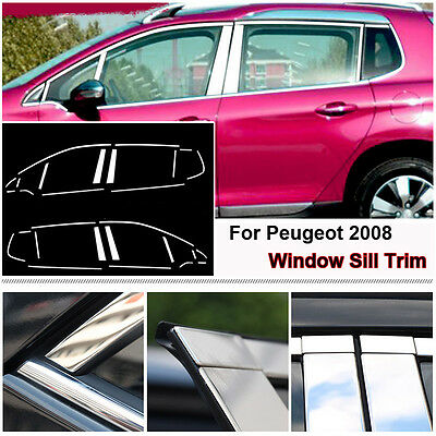 Full Window Middle Pillar Molding Sill Trim Stainless Steel For Peugeot 2008