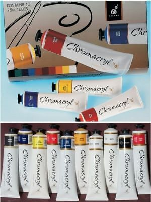 10 Tube Boxed Set Chromacryl Student Acrylic Paint Pack CC80300 NEW FREE POSTAGE