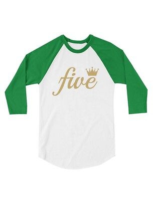 Fifth Birthday Gift 5 Year Old Crown Toddler Raglan 3 4 Sleeve Baseball Tee Five