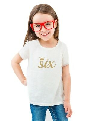 Sixth Birthday Gift 6 Year Old Crown Toddler Kids Girls Fitted T