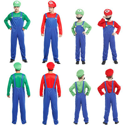 Super Mario Bros Luigi Costume Kids Adults Family Workmen Party Clothes Xmas Set
