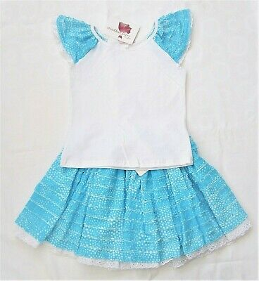 Girls T Shirt & Ruffle Skirt Set Kids Outfit Holiday Casual Summer  3-4 & 5-6 y