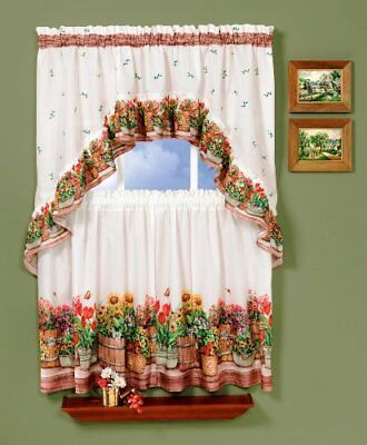 Achim Home Furnishings Country Garden Tier and Swag set, multi, (y3N)