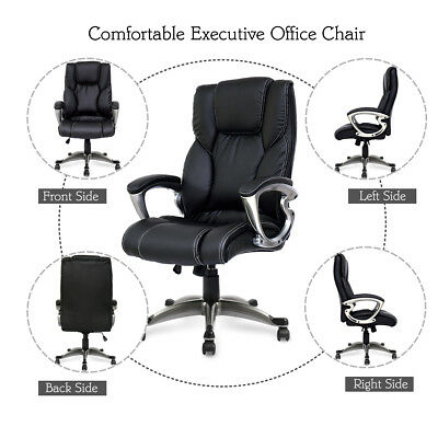 PU Leather Office Chair High Back Executive Task 360 Swivel Computer Chair Black