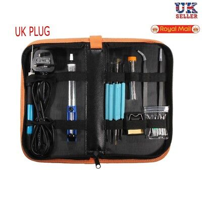 UK Soldering Iron Kit Electronics Welding Irons Tools 60W Adjustable Temperature