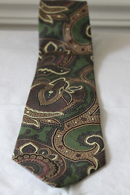 "Dunn & Co mens silk green/gold paisley classic 3.75"" width neck tie vintage"