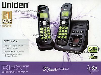 Uniden Dect 1635+1 Cordless Phone + Ans Machine Wall Mountable Works In Blackout