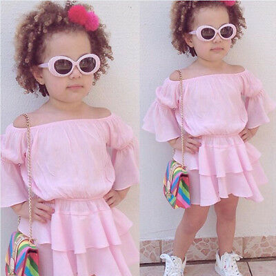 UK Baby Girls Off Shoulder Dress Outfit Summer Ruffle Sleeve Clothes Set Sweet