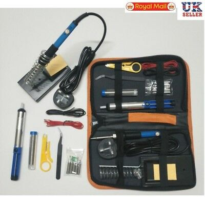 UK Plug 220V 60W Adjustable Electric Temperature Welding Soldering Iron Tool Kit
