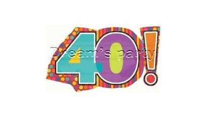 Palloncino Mylar Birthday Party 40 Anni Multicolor 46X74Cm Anagram