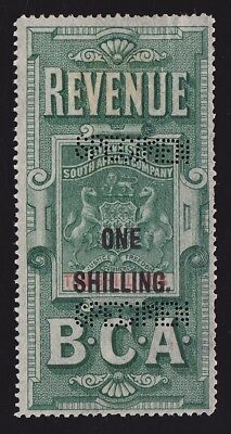 BRITISH CENTRAL AFRICA 1893 Revenue Arms 1/- on 10/- SPECIMEN EXTREMELY RARE!
