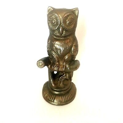 Vintage Bronze Brass Colored Cast Iron Owl Doorstop Bookend Large Heavy
