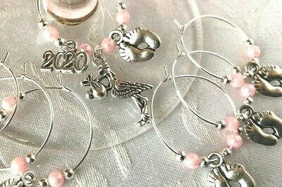 Baby Shower Wine Glass Charms  6-10 1 Baby Dummy Favour Christenings PINK 2020