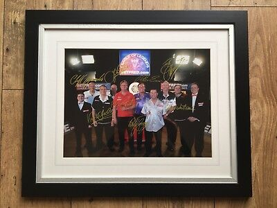 Eric Bristow Signed Darts Photograph - inc John Lowe, Bobby George etc.