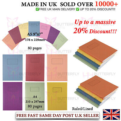 Silvine A4 A5 Exercise Books School Notebooks 80 pages Class Children Homework