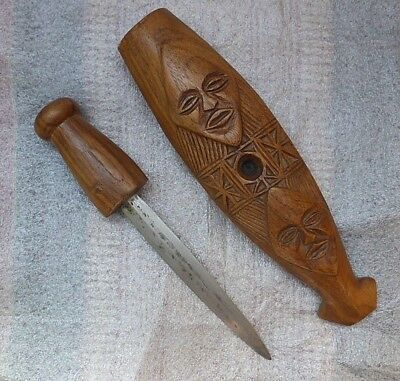 Unusual wooden African tribal art tool sheath with carved masks Congo Chokwe NR!