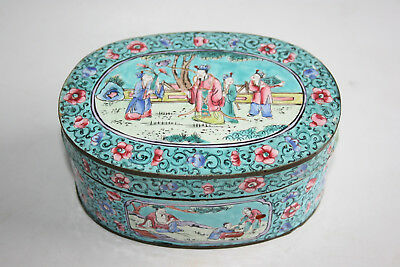 Antique Chinese Bronze Cloisonne Painted Flower & Picture Trinket Box