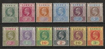 GAMBIA 1902 KEVII set ½d to 3/- wmk Crown CA